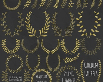 Gold Foil Laurels Clipart - Hand Drawn Leaf Branches Golden Clip Art - Laurel Branches and Wreaths Commercial Use Instant Download