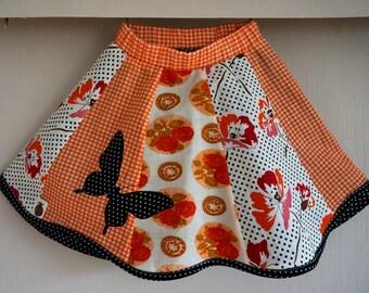 Little Girls Summer Skirt, Patchwork Twirl Skirt, Orange Butterfly Skirt, Girls Midi Skirt Size 4
