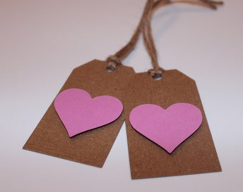 Brown Card Gift Tags decorated with Heart/Butterfly Cuttings - Present Tags - Gift Wrapping - Brown Tags