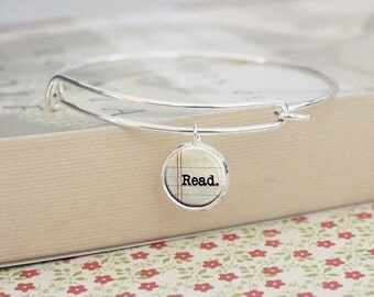 Read Bracelet - Reader - Silver Bangle - Word Jewelry -  Read - Charm Bracelet (S3300)