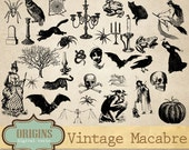 Vintage Macabre Halloween Clipart, Halloween Vector Graphics, Antique Creepy Clip Art, Commercial Use
