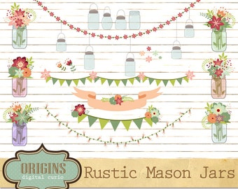 Rustic Mason Jars Clipart - Floral Shabby Chic Clip Art for Weddings, Save the Date, Invitations, Scrapbooking, Vectors and PNG