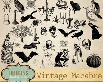 70% OFF Vintage Macabre Halloween Clipart, Halloween Vector Graphics, Antique Creepy Clip Art, Commercial Use