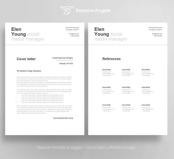 Swiss Resume Template + Cover Letter + Reference Page / Clean / Creative /  Modern / Free Business Cards / Instant Download /