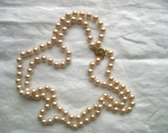 Faux Pearl Double Strand Necklace - 81