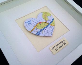 Vintage Map Frame - Single Heart
