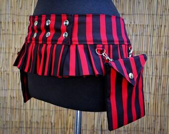 Black & Red Stripe Ruffle Utilty Belt w/ 2 Pouches, Mini Skirt Style, Reversible to Black, Custom Made for Women