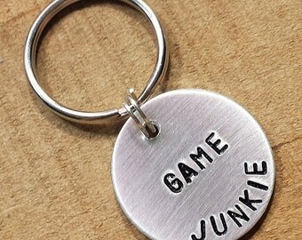Video game keychain, Gifts for Gamers, Gaming keychain, Geek Gifts, Game junkie keychain, Geek keychain, Gamer keychain