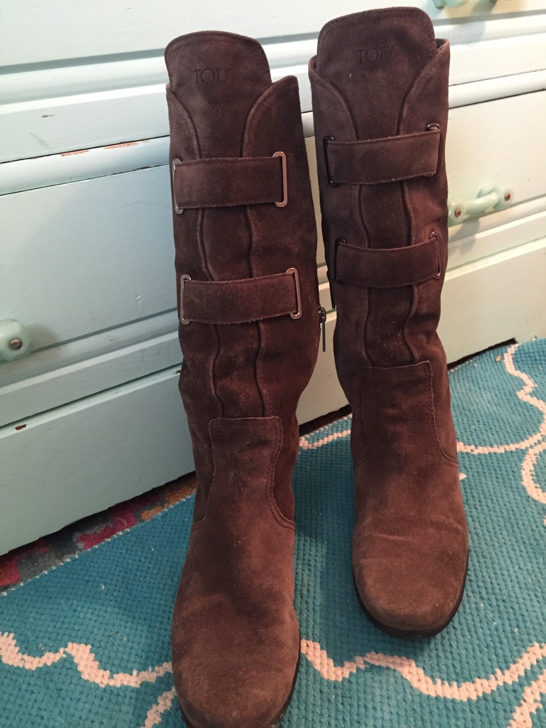 brown suede todd s slouch boots 39