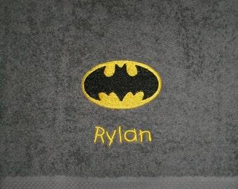 Personalized Batman Logo Bath towel  Super Hero Batman