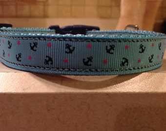 Anchors Away Small and Medium Turquoise Dog Collar