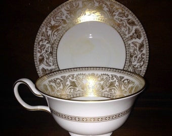 Wedgwood Gold Florentine Cup and Saucer #W4219