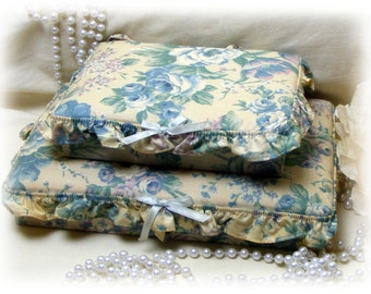 CLEARANCE . . Set of 2 Pretty Vintage Fabric Covered Jewelry Boxes