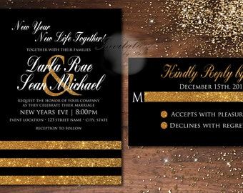 New Years Black and Gold Glitter Black White New Years Eve Wedding Elegant Formal Wedding Invitation Set Printable Digital Printed gold foil