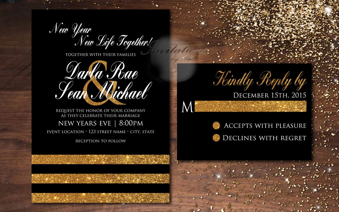 New Years Black And Gold Glitter Black White New Years Eve
