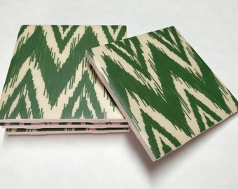 Green Chevron Coasters - Chevron Home Decor - Drink Coasters - Tile Coasters - Ceramic Coasters - Table Coasters On Sale