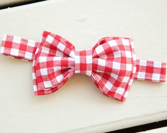 Red Gingham Picnic Bow Tie – You Choose Size