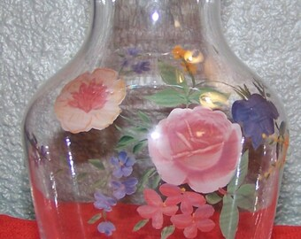 Vintage Hand Painted Glass Floral Vase Home Decor