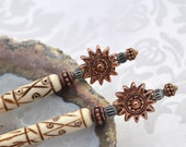 Sun Goddess hairsticks - white bone hairsticks with copper bali beads - Tribal hair sticks