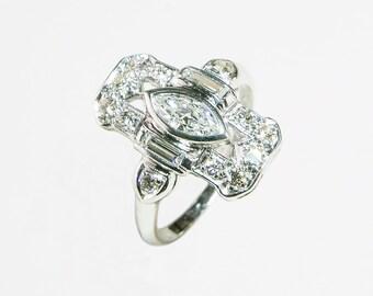 Amazingly brilliant Art Deco Style platinum and diamond ring