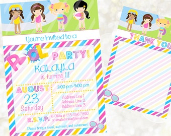 Pool Party Digital Invitation - Pool Party Birthday Invitation - Custom Pool Party Invite - You Print - Summer Party Invitation - Pool Party