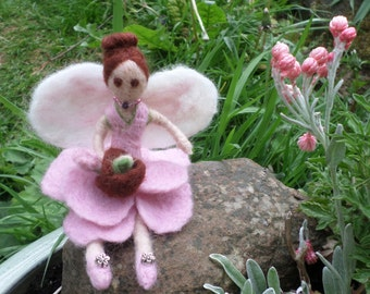 Rose Pink; June Fairy - needlefelted fairy sculpture in merino wool
