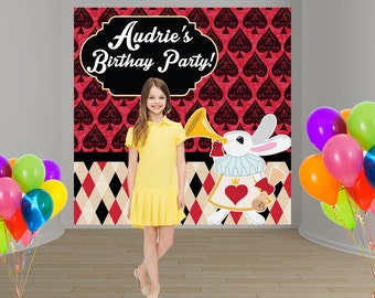 Mad Tea Party Personalize Photo Backdrop -Alice in Wonderland Party Backdrop Birthday- Sweet 16th Photo Backdrop