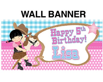 Sheriff Happy Birthday Banner~ Personalized Cowgirl Party Banners, Cowgirl Banners, Birthday Banners, Printed Vinyl Banners