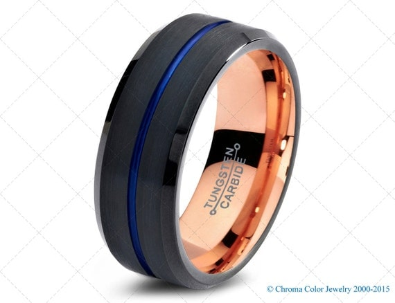 mens wedding bandblack blue tungsten by chromacolorjewelry