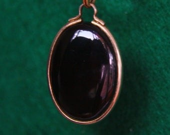 Black Onyx  - Gold Pendant