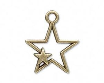Metal Star Charm / Drop - 27x22mm - Antique Bronze / Antique Copper - Pack 4