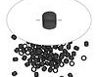 Black Brass Crimps - 2x1.5mm round - 1.3mm inside diameter - Pack 100