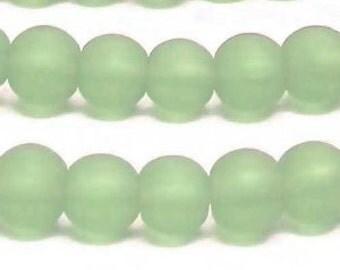 Czech Glass Sea Glass 8mm Road - Mint - Pack 12