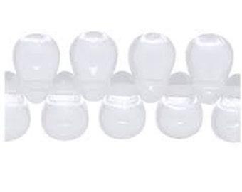 Czech Glass Teardrops 6mm - Milky White - Pack 15
