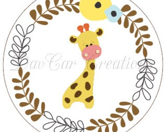 Baby Shower Giraffe Cupcake Toppers. Tags, or Stickers