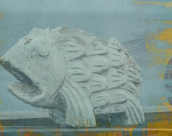 Fish Photography Print, Fish, Abstract, Decor, Statue, Garden
