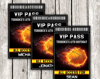Basketball VIP All Access Pass - Basketball Birthday Party - DIY Printable