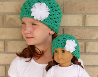Matching Girl & Doll Hat Set--Green with White Flower