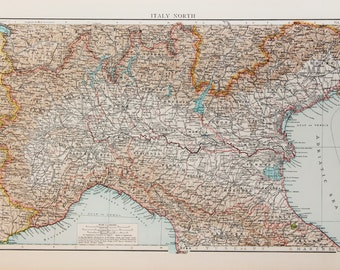 1900 Antique Times Map, Europe, Northern Italy, Alps