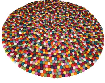 Felt rug colorful 140cm