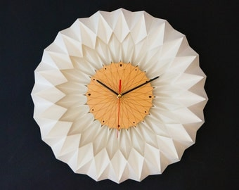 Wall Clock - engraved plywood face with folded paper surround