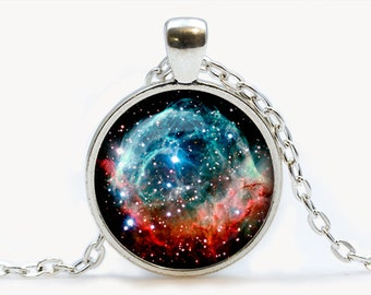 Thors Helmet Nebula Glass pendant. Galaxy necklace. Space, universe jewelry, birthday gift