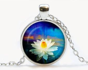 Lotus pendant. Flowers necklace. Flowers jewelry. Birthday gift