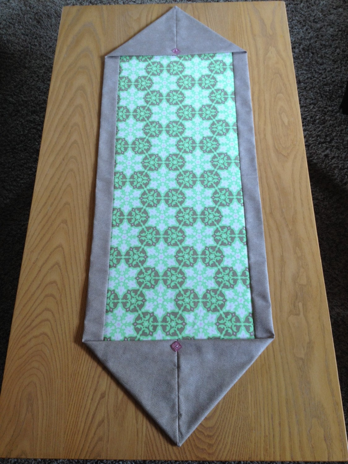 Medallion print green taupe table runner for 10 minute table runner placemats