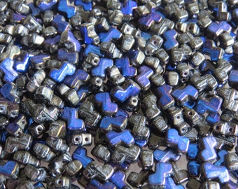 Jet Iris Blue Two Hole Zorro Beads (30)