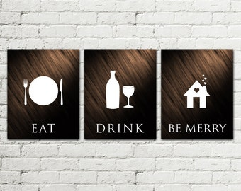 Set of 3 PRINTS Kitchen Printable Poster, Illustration Graphic Design Print, Eat Drink be Merry, Home Decor wall art Gift, Instant Download