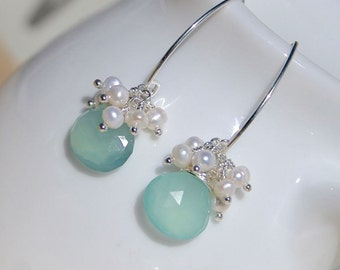 Aqua Chalcedony, Freshwater Pearl & Sterling Silver Earrings. Bead Cluster Earrings. Long Dangle Earrings. Gemstone Drop Earrings. Jewellery