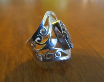 Hand Made Silver Filigree and Meteorite Ring Size 8.5