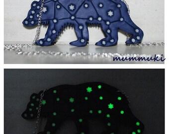 Bear necklace - glow in the dark