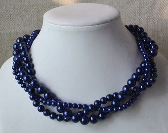 navy blue necklace,3-rows pearl necklaces,wedding necklace,bridesmaids necklace,glass pearl necklaces, pearl necklace,necklace,wedding